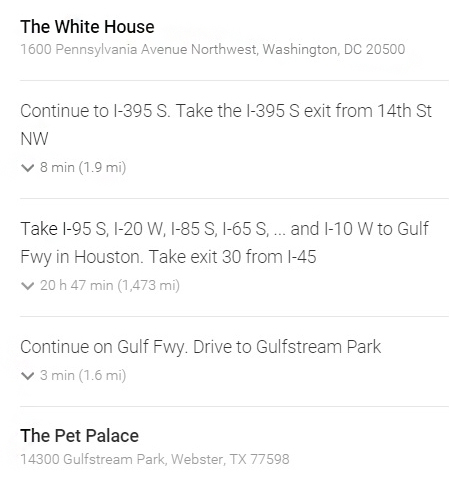 Directions from The White House